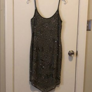 Dark grey/taupe beaded cocktail dress